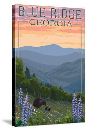Blue Ridge Georgia - Bear Family and Spring Flowers-Lantern Press-Stretched Canvas Print