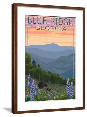 Blue Ridge Georgia - Bear Family and Spring Flowers-Lantern Press-Framed Art Print