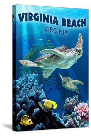 Virginia Beach, Virginia - Sea Turtle Swimming-Lantern Press-Stretched Canvas Print