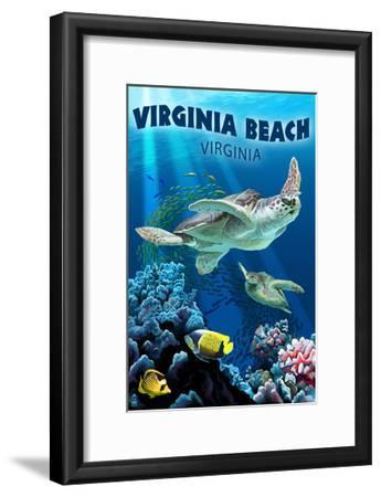 Virginia Beach, Virginia - Sea Turtle Swimming-Lantern Press-Framed Art Print