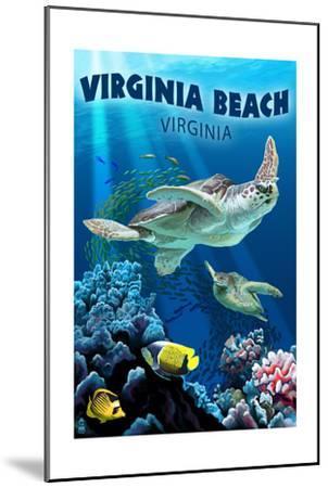 Virginia Beach, Virginia - Sea Turtle Swimming-Lantern Press-Mounted Art Print