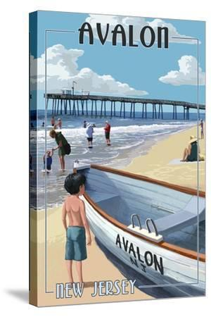 Avalon, New Jersey - Lifeboat-Lantern Press-Stretched Canvas Print
