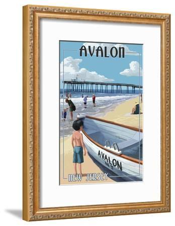 Avalon, New Jersey - Lifeboat-Lantern Press-Framed Art Print