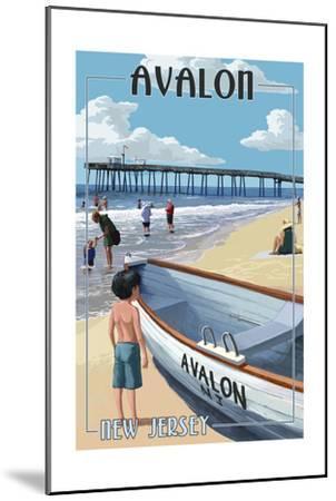 Avalon, New Jersey - Lifeboat-Lantern Press-Mounted Art Print