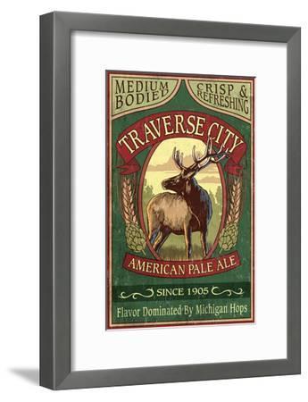 Traverse City, Michigan - Elk Head Pale Ale Vintage Sign-Lantern Press-Framed Art Print