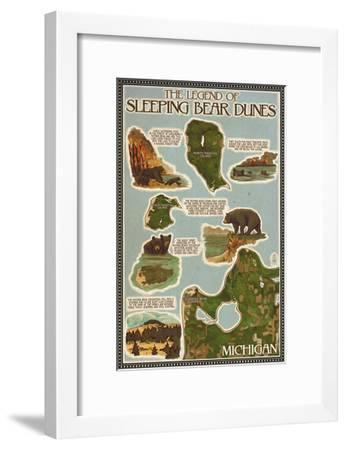 Sleeping Bear Dunes, Michigan - Sleeping Bear Dunes Legend Map-Lantern Press-Framed Art Print