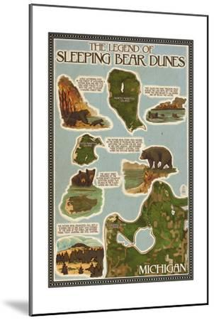 Sleeping Bear Dunes, Michigan - Sleeping Bear Dunes Legend Map-Lantern Press-Mounted Art Print