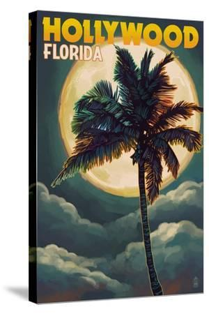 Hollywood, Florida - Palms and Moon-Lantern Press-Stretched Canvas Print