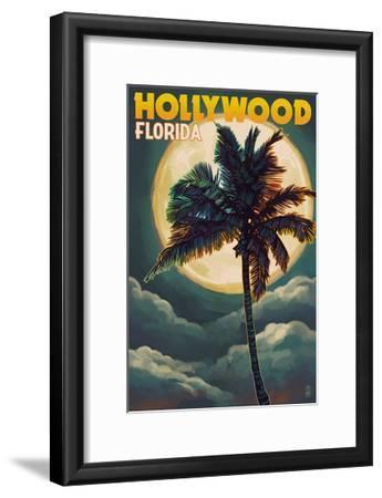 Hollywood, Florida - Palms and Moon-Lantern Press-Framed Art Print