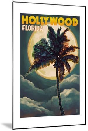 Hollywood, Florida - Palms and Moon-Lantern Press-Mounted Art Print