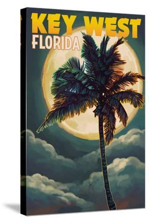Key West, Florida - Palms and Moon-Lantern Press-Stretched Canvas Print