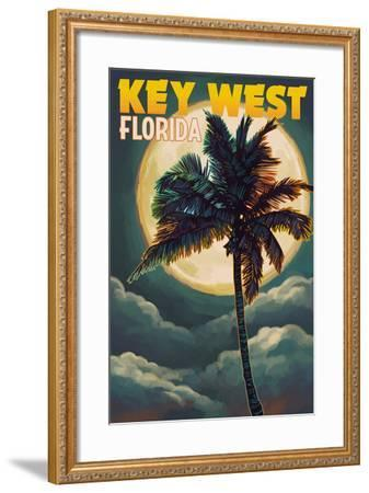 Key West, Florida - Palms and Moon-Lantern Press-Framed Art Print
