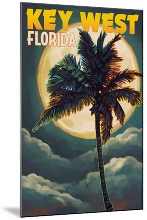 Key West, Florida - Palms and Moon-Lantern Press-Mounted Art Print
