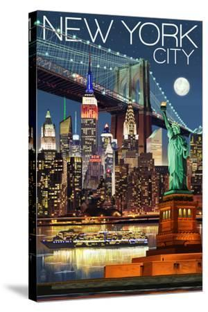 New York City, NY - Skyline at Night-Lantern Press-Stretched Canvas Print