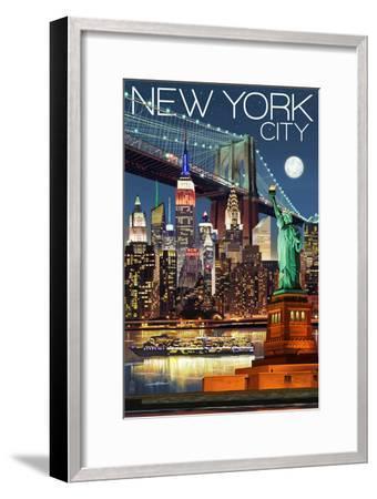 New York City, NY - Skyline at Night-Lantern Press-Framed Premium Giclee Print