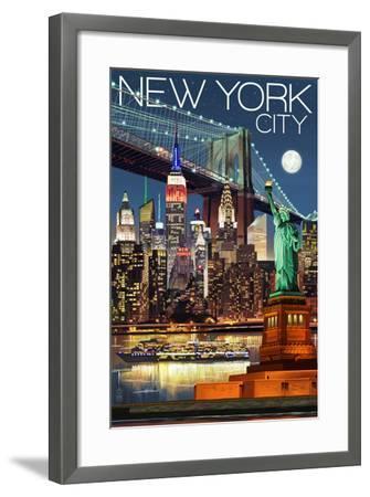 New York City, NY - Skyline at Night-Lantern Press-Framed Art Print
