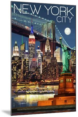 New York City, NY - Skyline at Night-Lantern Press-Mounted Art Print