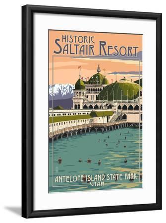 Antelope Island State Park, Utah - the Historic Saltair-Lantern Press-Framed Art Print