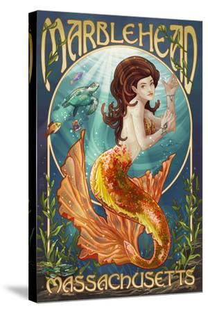 Marblehead, Massachusetts - Mermaid-Lantern Press-Stretched Canvas Print