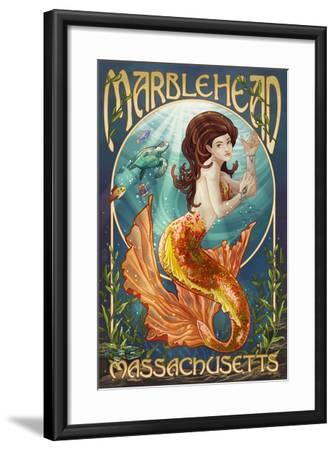 Marblehead, Massachusetts - Mermaid-Lantern Press-Framed Art Print