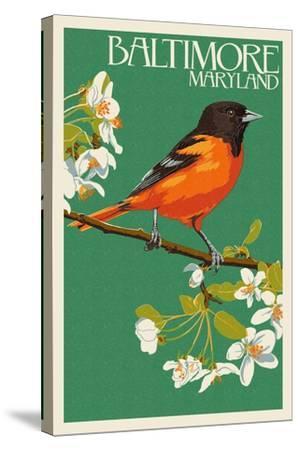Oriole - Baltimore, MD-Lantern Press-Stretched Canvas Print