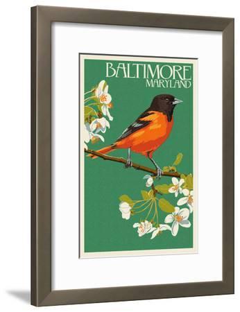 Oriole - Baltimore, MD-Lantern Press-Framed Art Print