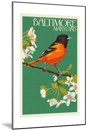Oriole - Baltimore, MD-Lantern Press-Mounted Art Print