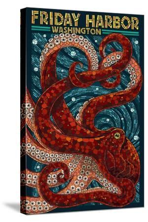 Friday Harbor, San Juan Island, WA - Ocotpus Mosaic-Lantern Press-Stretched Canvas Print