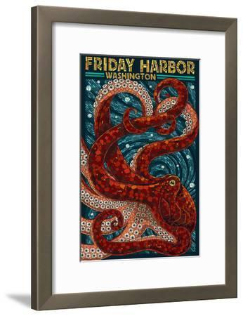 Friday Harbor, San Juan Island, WA - Ocotpus Mosaic-Lantern Press-Framed Art Print