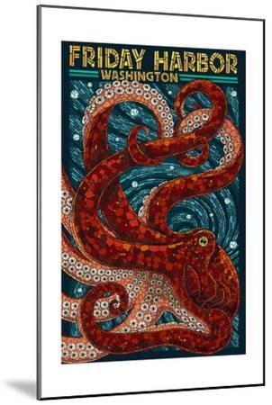 Friday Harbor, San Juan Island, WA - Ocotpus Mosaic-Lantern Press-Mounted Art Print