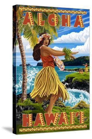 Hula Girl on Coast - Aloha Hawaii-Lantern Press-Stretched Canvas Print