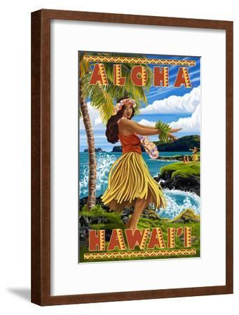 Hula Girl on Coast - Aloha Hawaii-Lantern Press-Framed Art Print