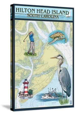 Hilton Head, South Carolina - Nautical Chart-Lantern Press-Stretched Canvas Print