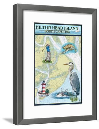 Hilton Head, South Carolina - Nautical Chart-Lantern Press-Framed Art Print