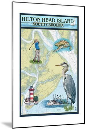 Hilton Head, South Carolina - Nautical Chart-Lantern Press-Mounted Art Print