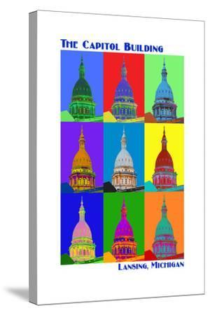 Pop Art - Capitol Building - Lansing, Michigan-Lantern Press-Stretched Canvas Print