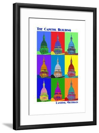 Pop Art - Capitol Building - Lansing, Michigan-Lantern Press-Framed Art Print
