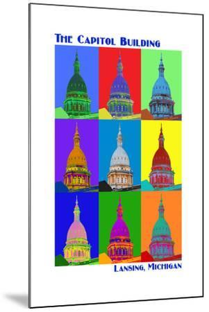 Pop Art - Capitol Building - Lansing, Michigan-Lantern Press-Mounted Art Print