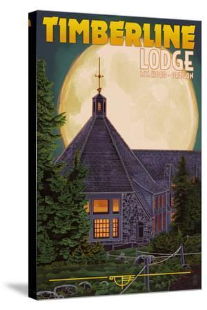 Timberline Lodge and Full Moon - Mt. Hood, Oregon-Lantern Press-Stretched Canvas Print