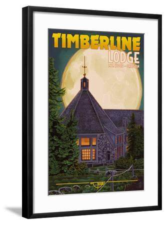 Timberline Lodge and Full Moon - Mt. Hood, Oregon-Lantern Press-Framed Art Print