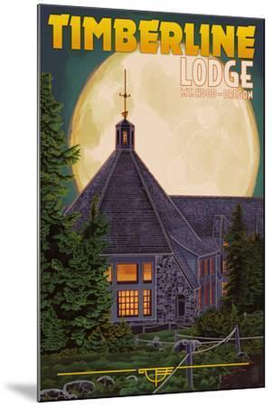 Timberline Lodge and Full Moon - Mt. Hood, Oregon-Lantern Press-Mounted Art Print