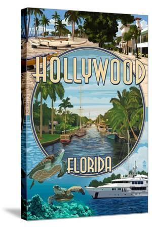 Hollywood, Florida - Montage-Lantern Press-Stretched Canvas Print
