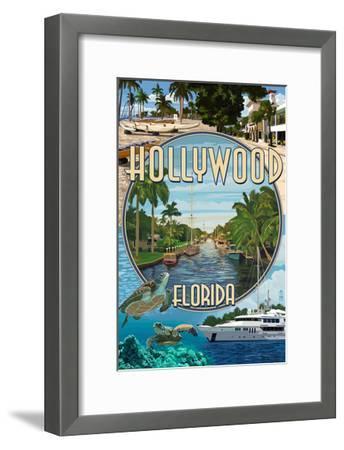 Hollywood, Florida - Montage-Lantern Press-Framed Art Print
