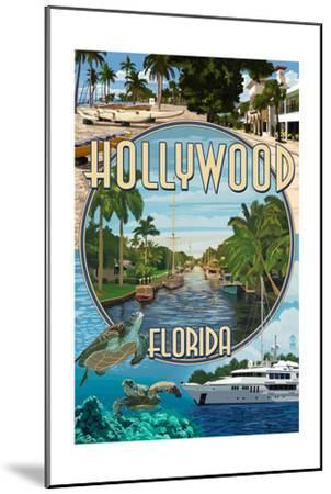 Hollywood, Florida - Montage-Lantern Press-Mounted Art Print