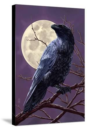 Raven and Moon Purple Sky-Lantern Press-Stretched Canvas Print