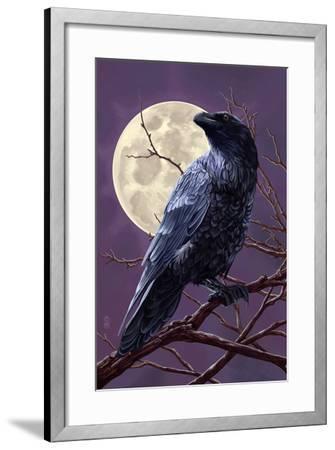 Raven and Moon Purple Sky-Lantern Press-Framed Art Print