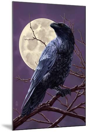 Raven and Moon Purple Sky-Lantern Press-Mounted Art Print