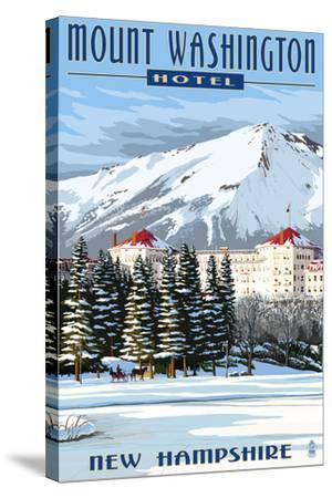 Mount Washington Hotel in Winter - Bretton Woods, New Hampshire-Lantern Press-Stretched Canvas Print