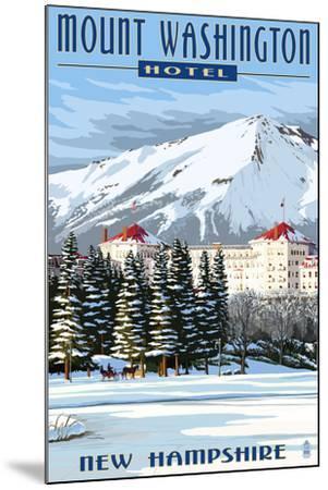 Mount Washington Hotel in Winter - Bretton Woods, New Hampshire-Lantern Press-Mounted Art Print