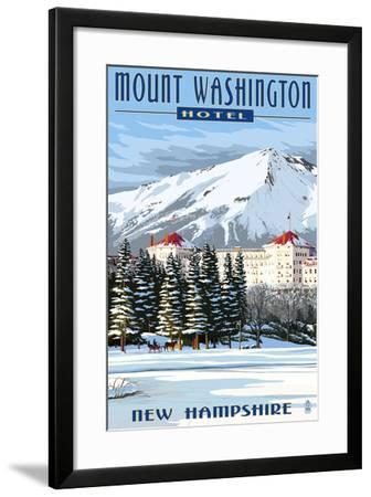 Mount Washington Hotel in Winter - Bretton Woods, New Hampshire-Lantern Press-Framed Art Print